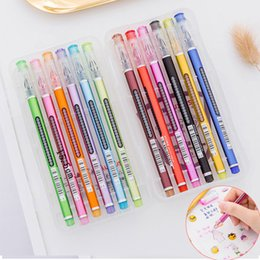 $enCountryForm.capitalKeyWord Australia - 12 Colors Box Cute Diamond Head Gel Pen Kawaii Water Chalk Highlighter Pen 0.5mm for Writing Marker Office School Stationery