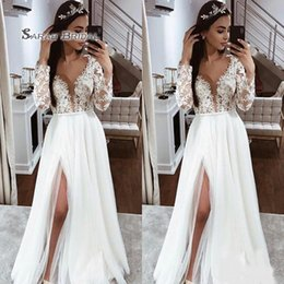 Plunge Wedding Dresses UK - Sexy Plunging V Neck Long Sleeves Wedding Dresses Chiffon A Line Lace Appliques Floor Length Beach Boho Bridal Gown With Side Split