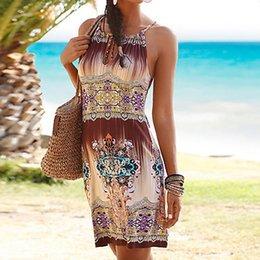 59ceaa68d1e 2019 Womens Summer Wrist Sleeve Strappy Off Shoulder Print Sleeveless Dress  Evening Party Beach Dresses Sundress Halter Dress