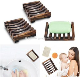 Wholesale Soap Box Containers Australia - Natural Wooden Bamboo Soap Dish Tray Holder Storage Soap Rack Plate Box Container for Bath Shower Plate Bathroom D0515