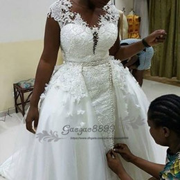 embroidery wedding dresses detachable train Australia - Nigerian African Mermaid Wedding Dresses with detachable train 2019 vintage Lace overskirt trumpet Wedding Gown plus size Bridal Dresses