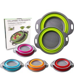 $enCountryForm.capitalKeyWord Australia - Hot Sale 2pcs set Folding Collapsible Silicone Colander Strainer Kitchen Fruit Filter Basket Fruit Vegetable Colander Kitchen storage bowl