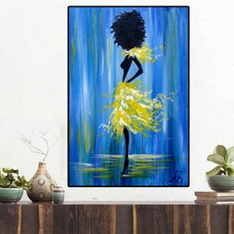 digital poster frames NZ - Abstract Black African Nude Woman Figure Oil Painting on Canvas Posters and Prints Scandinavian Wall Art Picture No Framed