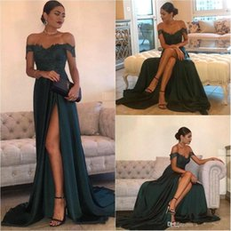 Cheap red laCe evening dress online shopping - Dark Green Cheap Evening Dresses A Line Chiffon Off Shoulder Floor Length High Side Split Lace Elegant Long Prom Dress Formal Dress