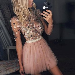 One shOulder evening dress print online shopping - 2020 short Prom Dresses beaded Pearl Special Occasion Party Gowns with d flower lace applique long sleeves Formal Evening Dress custom made