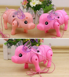 pink pig toys Canada - Cute Funny Electric Piglet Music Walking Pig action figure Toys Acousto-optic porket Piglet Toys for children baby Kids Pets