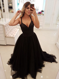 Wholesale bridesmaids waist sashes resale online - Black Prom Dresses Spaghetti Straps Bead Waist Tulle Evening Gowns Cocktail Party Ball Bridesmaid Dress Special Occasion Formal Gown