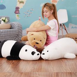 White stuffed animal bears online shopping - 90cm Kawaii We Bare bears Lying plush Bear Stuffed Grizzly Gray White Bear Panda Cartoon Dolls for Kids Gifts Toys for Children T191019