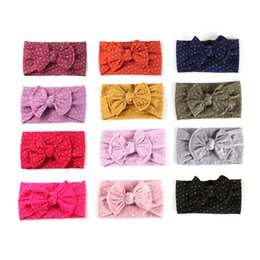 Wholesale 12 Colors Floral Printed Nylon Baby Headband Handmade Babysbreath Knotted Bow Headdress Super Soft Headwear JFNY103
