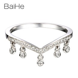 14k diamond cluster ring Australia - BAIHE Solid 14K White Gold 0.12ct Certified H SI Round 100% Genuine Natural Diamonds Women Wedding Trendy Fine Jewelry Gift Ring
