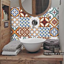 $enCountryForm.capitalKeyWord NZ - Turkish Ceramic Pattern Tiles Sticker DIY Waterproof Self Adhesive Furniture Bathroom Kitchen Wall Decals Classical Retro Wall Stickers