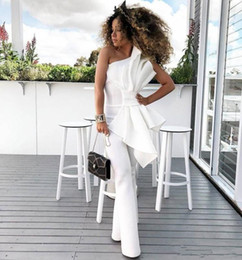 red club jumpsuits plus size 2019 - 2019 Vintage One Shoulder White Women Jumpsuit Prom Dresses With Big Bow Formal Party Evening Gowns Custom Made Special