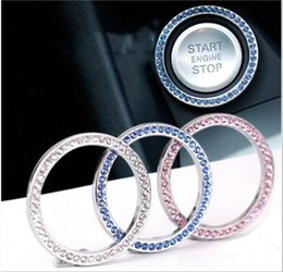 Crystal diamond stiCkers online shopping - Car decoration stickers Crystal diamond one button start ring Rhinestones circle Engine start Stop ring fit For Mercedes BMW three colors