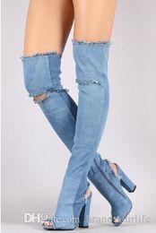$enCountryForm.capitalKeyWord Australia - 2017 Trendy New Design Light Blue Denim Peep Toe Boots Fashion Fringe Edge Block Heel Over the Keen High Sandals Jeans Cut-out Boots