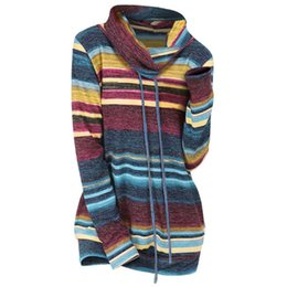 Wholesale sweater cowl neck resale online - Wipalo Drawstring Collar Striped Knitwear Women Sweater Casual Cowl Neck Long Sleeve Pullover Sweaters Ladies Tops Fall Jumpers