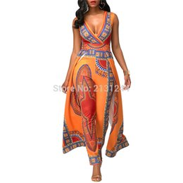 $enCountryForm.capitalKeyWord Australia - Women African Clothes Dashiki Print Jumpsuit Vestidos Ankara Orange V-neck Sleeveless Jumpsuit African Dresses for Women