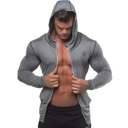 thin bodybuilding hoodies Australia - 2020 Autumn Men Zipper Thin Sweatshirt Hoodies Man Bodybuilding Workout Hooded Jacket Male Gyms Fitness Jogger Tops Clothing wholesale
