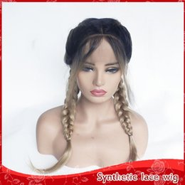 Glueless Wig Braids For Australia - Natural Hairline 2 Tones Dark Roots Ombre Blonde Braid Straight Wigs with Baby Hair Middle Part Glueless Synthetic Lace Front Wigs For Women