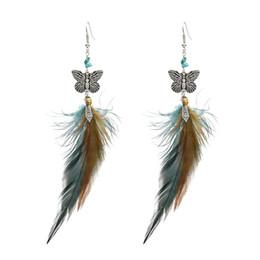 $enCountryForm.capitalKeyWord UK - Idealway Fashion Butterfly Shape Feather Drop Earrings for Women Boho Wedding Party Jewelry