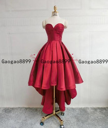 Side high low prom dreSSeS online shopping - 2020 High Low Sweetheart Neck Strapless Backless Satin Red Prom Dresses short Graduation Dresses Backless lace up Formal Evening Dresses