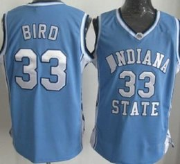 swingman basketball jerseys Australia - Mens Indiana State Sycamores Bird Vintage ISU Blue Larry Green Springs Valley High School Black Soul Swingman College Basketball Jersey
