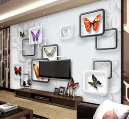 Butterfly Stickers For Papers Australia - modern wallpaper for living room 3D fantasy butterfly living room TV background wall paper wall sticker