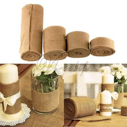 rolling chairs NZ - New Design 10Meter X 30Cm Jute Burlap Ribbon Roll Burlap Table Runners Wedding Party Chair Bands Vintage Home Decorations