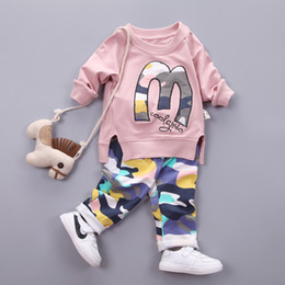 Kids Jackets S Letter Canada - 2018 Autumn Clothes Girl Letter M Warm Cotton Clothing Set For Kid Camouflage Jackets Pant 2pcs Fashion Children Sports Suit