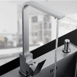 $enCountryForm.capitalKeyWord Australia - Square Design Stainless Steel Kitchen Faucet Mixer Sink Faucet Surface Brushed Water Tap 360 Degree Rotation Free Shipping
