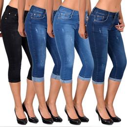 $enCountryForm.capitalKeyWord NZ - Women Elastic Short Pants Leggings Denim Shorts Crochet Skinny Stretch Jeans Shorts Capris Pants Plus Size S-5XL