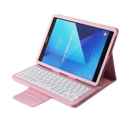 pink wireless keyboard for ipad NZ - removable detachable rechargeable usb wireless silicon bluetoot keyboard portfolio leather case for samsung galaxy Note Pro P600 T520