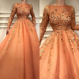 $enCountryForm.capitalKeyWord Australia - 2019 Sexy New Orange Sheer Long Sleeves Formal Evening Dresses With Lace Appliques A Line Tulle Long Prom Gowns Celebrity Party Wear