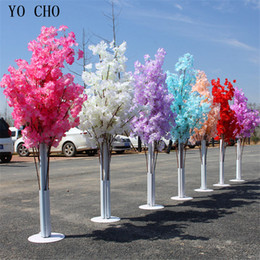 fake cherry blossoms NZ - YO CHO Artificial Cherry Blossoms Flower Vine Hanging Plants Wedding Silk Garland Fake Green Plant Home Garden Wall Fence Stairway Decor
