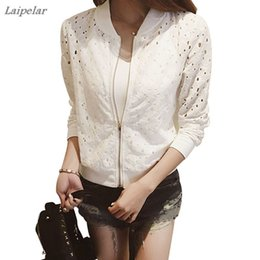 women summer jackets clothing 2019 - Laipelar Women's Summer Thin Jacket Lace Long Sleeve Sunscreen Women Clothing Hollow Out Breathable Bomber Jacket B