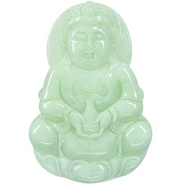 China Fine Jewelry Natural Jadeite Jade Hand Carved Kwan yin Buddha Pendant Necklace Jewelry Pendant necklace Free Shipping suppliers