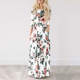 Black chiffon tunic dress online shopping - 2018 Summer new round neck short sleeved Long dress Floral Print Boho Beach Dress Tunic Maxi Dress
