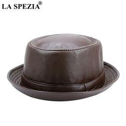 0831fe48f5b7f LA SPEZIA Men Fedora Cap Brown Women Casual Retro Jazz Hats Faux Leather  Vintage Trilby Hat Spring Autumn Classic Panama Cap D19011103