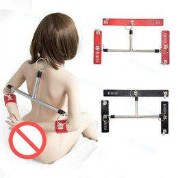Metal Handcuffs Wrists Ankles NZ - Slave Metal T Spreader Bar Handcuffs Wrist Ankle Cuffs Faux Leather Neck Collar A876