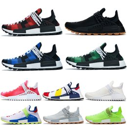 media pack NZ - Human Race Pharrell Williams Men Sports Running Shoes BBC Creme nerd Digijack Pack Blue Nerd Women Outdoor Training Sneaker Size 36-47