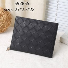 envelope style purses NZ - cow Leather Weave High Quality New Men Leather Clutch Bag Case Pocket Coin Purse Male Card Holder Pack Vintage Envelope Wallet Flap B
