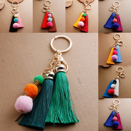 $enCountryForm.capitalKeyWord Australia - Free DHL High Quality Tassel Hairball Key Chain Pendant Charm Keychain Pompom Cute Handbag Car Keychaim Artificial Decoration D190Q Y