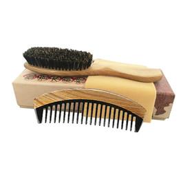 Green Set Brush Australia - Hair Brush & Comb Set Boar Bristle Brush Green Sandalwood Ox Horn Pocket Travel Comb Detangling Curly Hair Wholesale