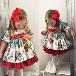 cedb2ef66415 Retro Kids Baby Girl Christmas Princess Dress Santa Claus Print Puff Sleeve  Lace Back Bow Party Ball Gown Swing Dress 1-6Y