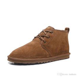 2020 верхней обуви зимняя шерсть мужчин sBoots неумел замшевые сапоги мужские классические сапоги, если поле не заполнено серия ремни повседневный теплый мини загрузки каштанового размер US35-US44 на Распродаже
