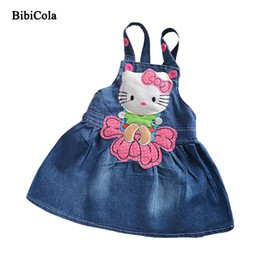 ca2b99e446 good quality Summer Baby Girl Dress Cartoon Cat Draped Jeans Dresses  fashion Kid Girls clothing children Overalls A-Line Denim Dress