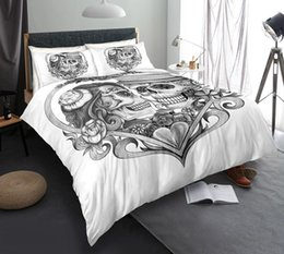 $enCountryForm.capitalKeyWord Australia - Black and White Skull Bedding Set King Size Love Scary 3D Duvet Cover Queen Home Dec Single Double Bed Set With Pillowcase 3pcs