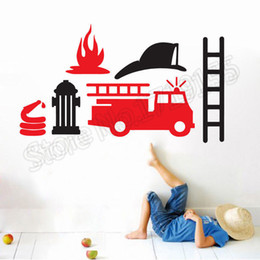 car sticker designs graphics Australia - Cartoon Fire Truck Engine Car Vinyl Wall Decal Removable Cartoon Stickers For Boys Room Special Design Home Decoration DIY
