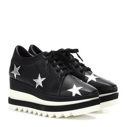 Sneakers Cut Out Australia - 2019 NEW Stella Mccartney Women Calfskin Genuine Leather Platform Casual Shoes Cut-outs Star Oxfords Stripes Wedge Elyse Lace-up Sneaker