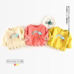 Girls Tassel Shirt Australia - Baby Girl Embroidery Tassel Rainbow Casual Sweatshirt Autumn Winter Kids Thickening Pullover Outerwear Girl Long Sleeve T-shirt