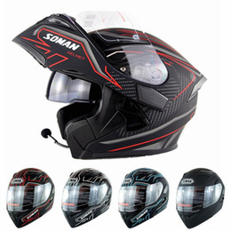 Discount build face - Men's Four Seasons Built-in Bluetooth Helmet Double Lens Motorcycle Racing Helmets Flip up Motor bike Capacete Casc